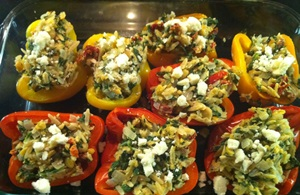 Greek Orzo Stuffed Peppers