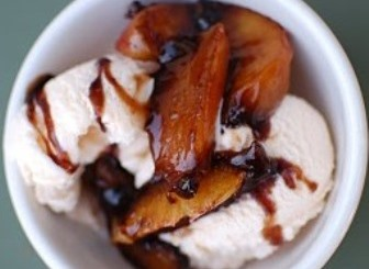 Grilled Peaches with Ice Cream and Strawberry Balsamic Glaze