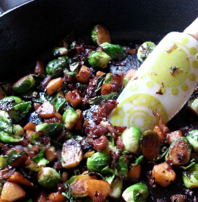 Glazed Brussels Sprouts with Apples And Prosciutto