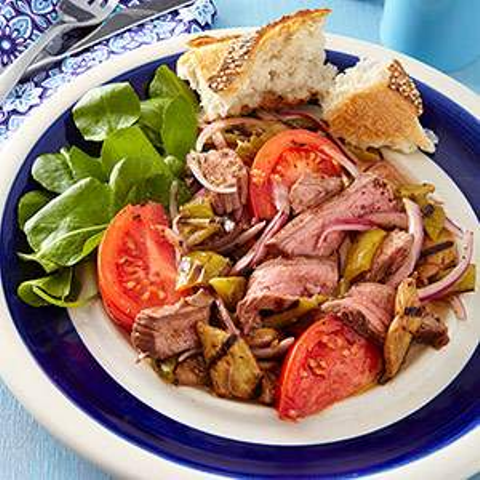 Grilled Steak Salad with Tomatoes & Eggplant