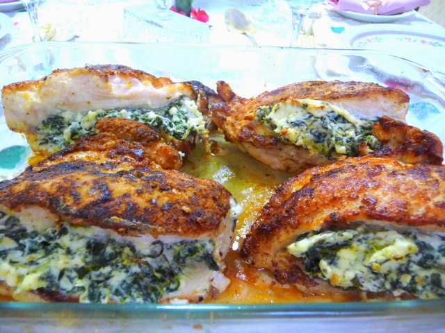 """Breaded"" Chicken Stuffed w/Spinach, Feta, and Cream Cheese"