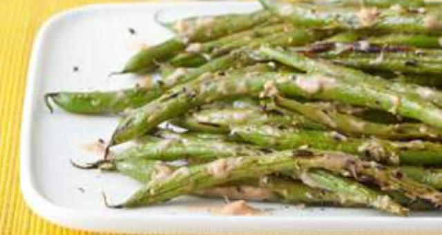 Grilled Green Beans with Duck Butter Ketchup