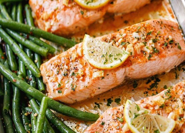 Butter Baked Garlic Salmon with Green Beans